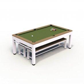 Pool- og spilleborde fra Riley. Asketræsfinér, egetræsfinér