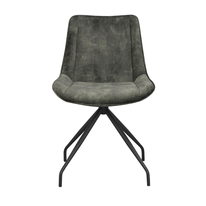 ROWICO Rossport spisebordsstol, m. drejefunktion - grøn fløjl og sort metal