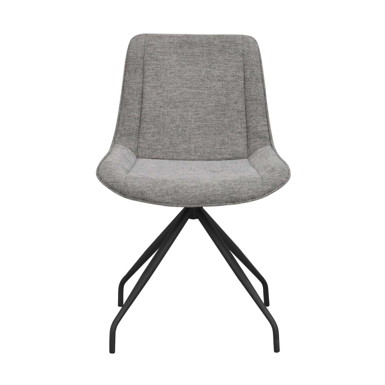 ROWICO Rossport spisebordsstol, m. drejefunktion - grå polyester og sort metal