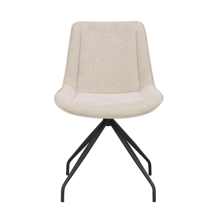 ROWICO Rossport spisebordsstol, m. drejefunktion - beige polyester og sort metal