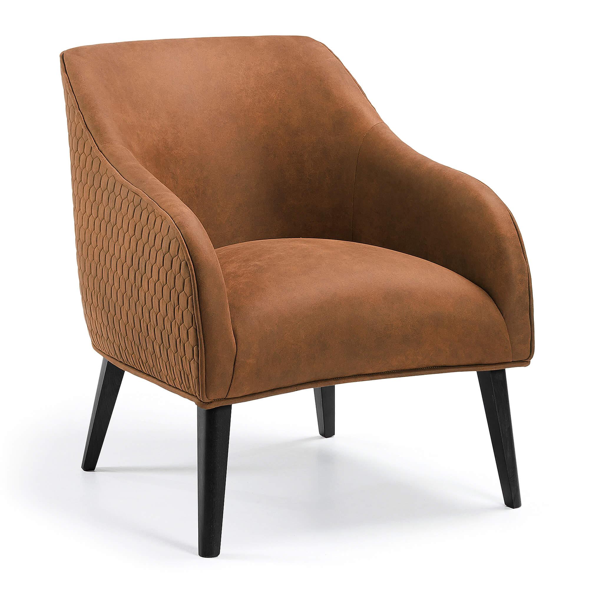 laforma Laforma lobby lænestol - rustbrunt stof og sort bøgetræ, m. armlæn på boboonline.dk