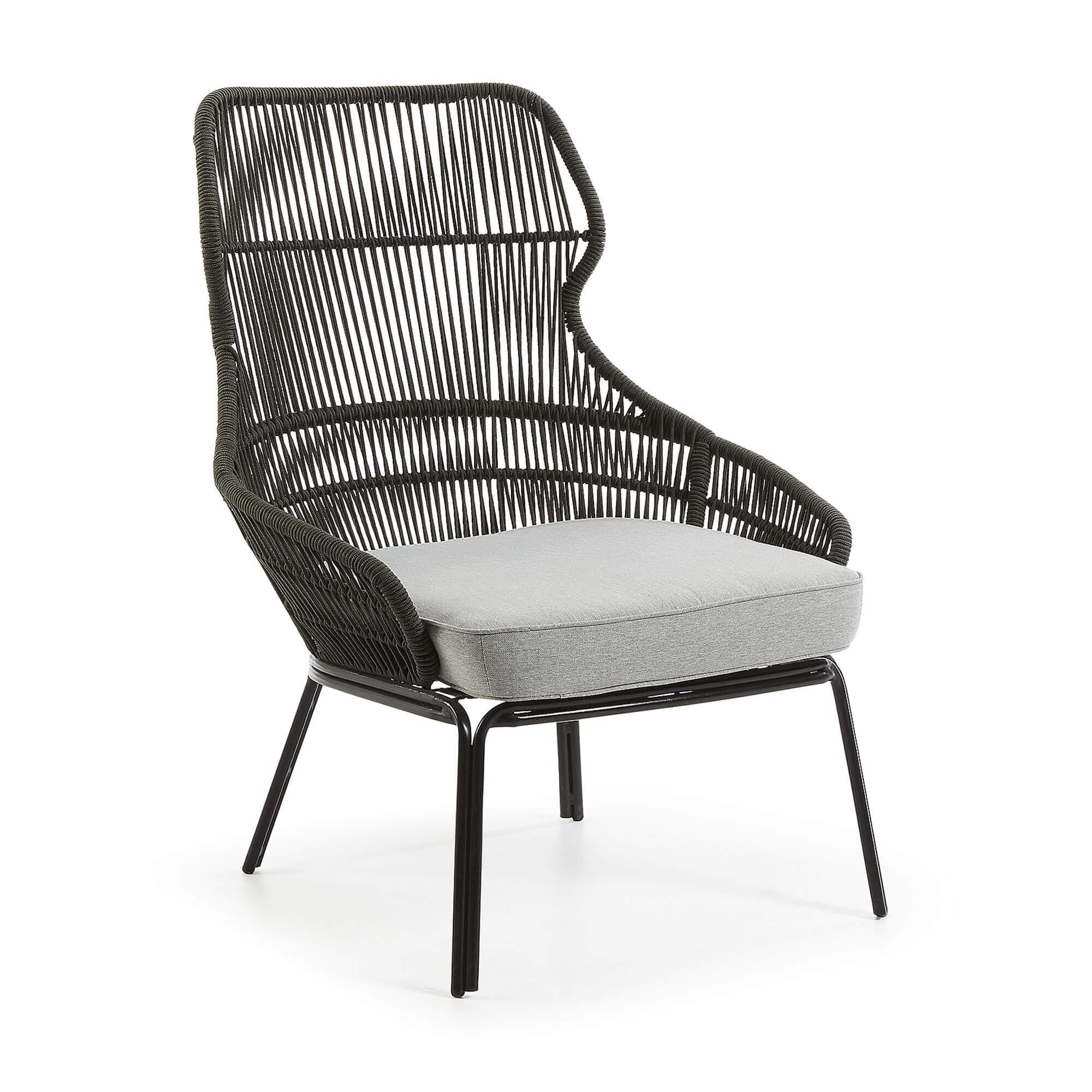 LAFORMA Rizz lænestol - mørkegråt reb, mørkt stål og lysegråt stof, m. armlæn