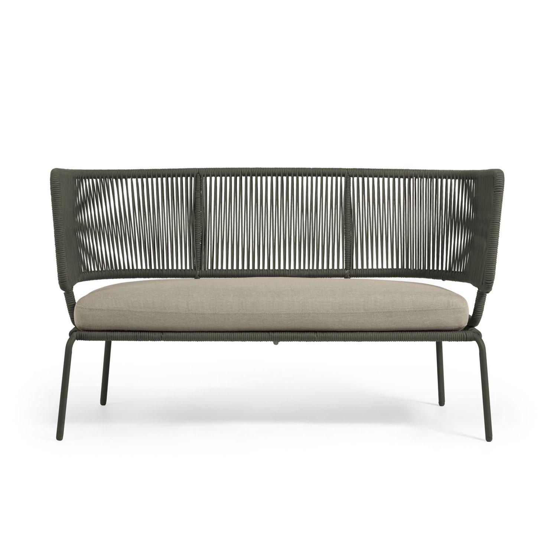 LAFORMA Nadin sofa, 2 personers, m. armlæn – grønt reb og galvaniseret stål (135×65)