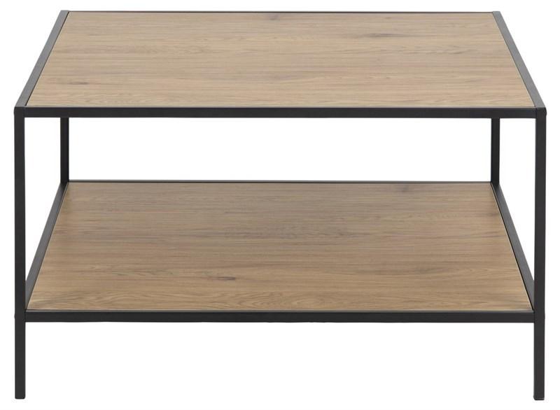 Seaford sofabord, m. 1 hylde - natur papir vildeg og sort metal (80x80)