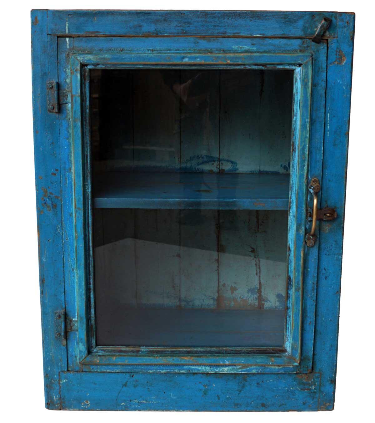 Billede af Trademark Living Fint lille gammelt træskab med glaslåge - blå