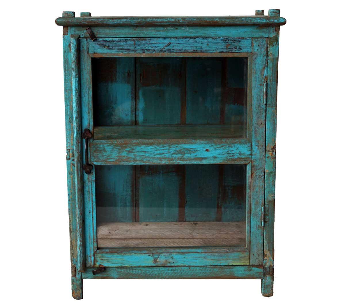 Billede af Trademark Living Fint lille træskab med glaslåge - blå