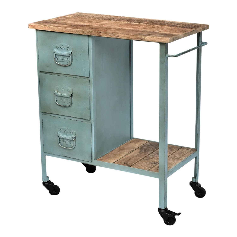 SJÄLSÖ NORDIC rullebord - lyseblå/natur genbrugstræ, m. 3 skuffer og hjul