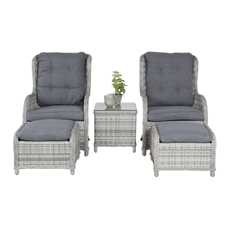 VENTURE DESIGN Vikelund udendørs loungesæt m. hynder - grå rattan og aluminium