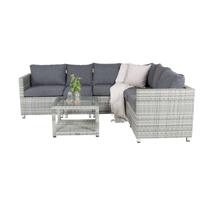 VENTURE DESIGN Vamos modul sofa havesæt 3+2+1 m. hynder - grå rattan og aluminium