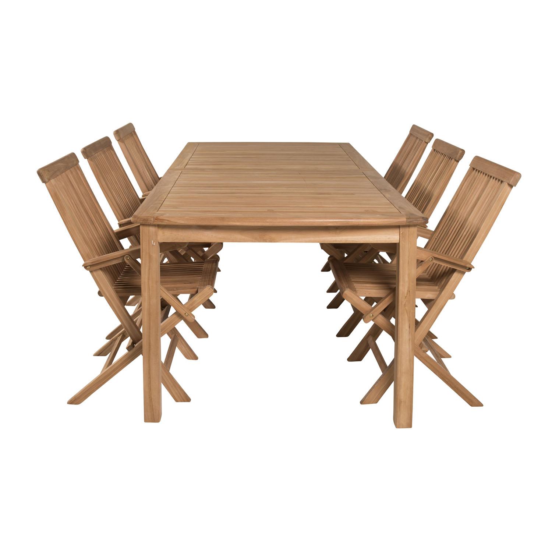 Venture Design Havesæt M. Llama Bord (Ø140) Og 6 Anna Stole M. Armlæn - Sort Rattan Og Brunt Laminat Havemøbler
