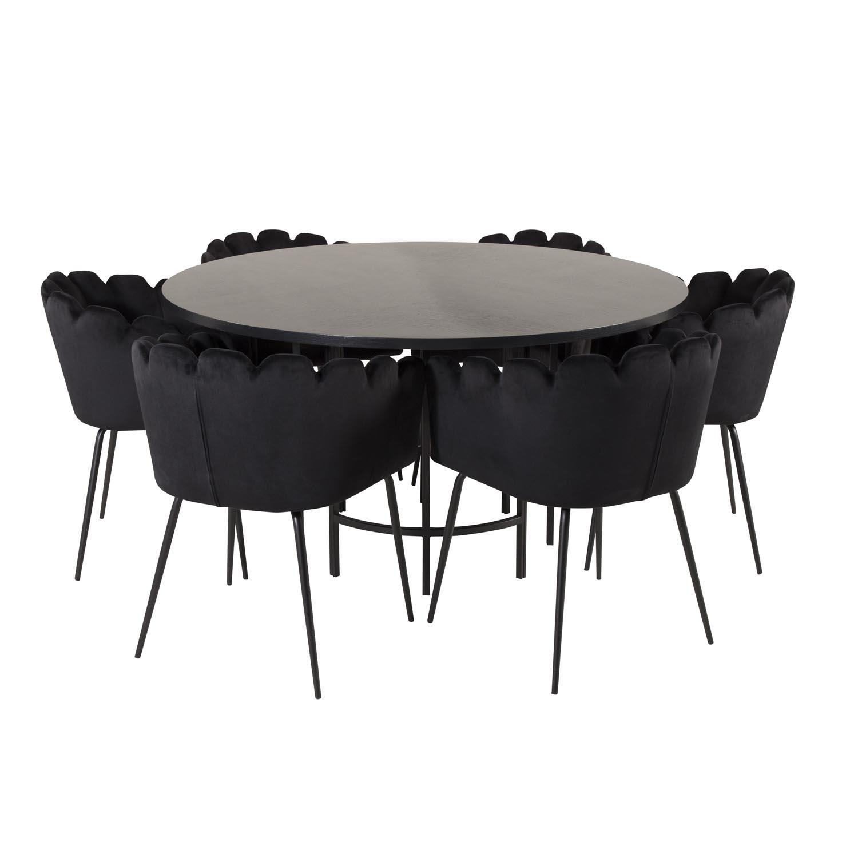 Billede af VENTURE DESIGN Copenhagen spisebordssæt, m. 4 stole - sort finer/sort metal og sort fløjl/sort metal