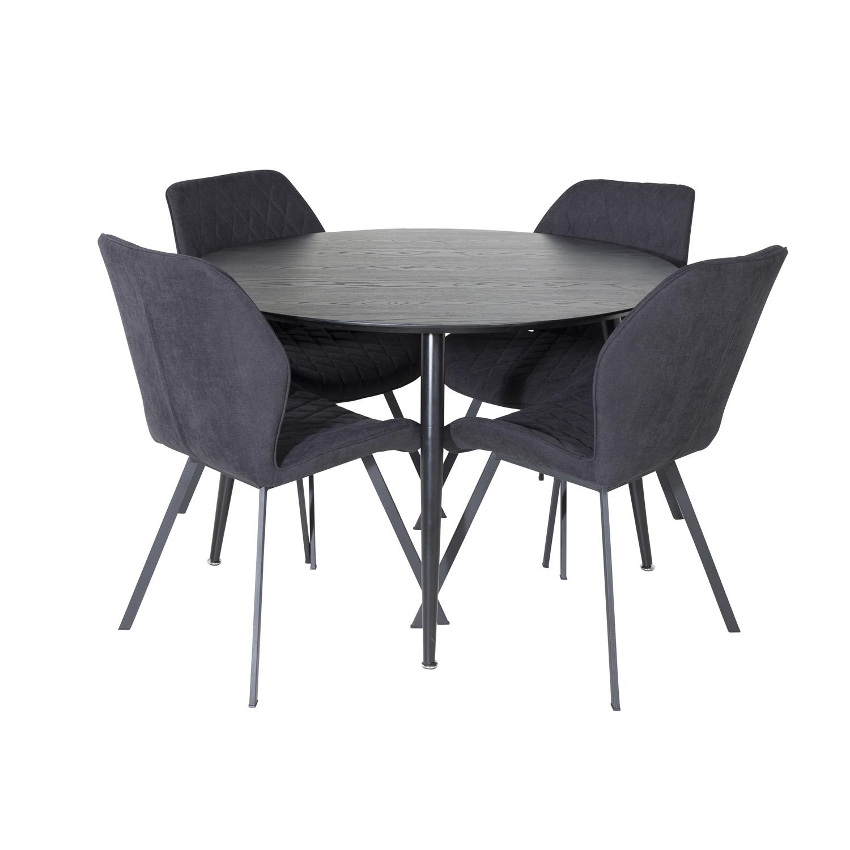 Billede af VENTURE DESIGN Dipp spisebordssæt, m. 4 stole - sort elletræfiner/sort metal og sort stof/sort metal
