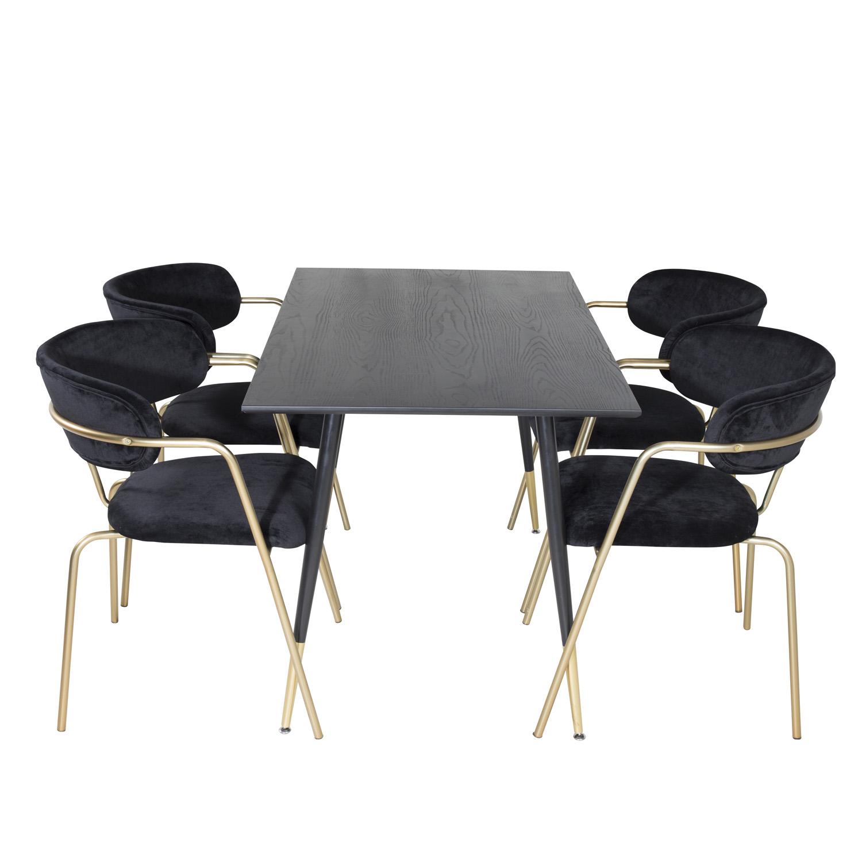 Billede af VENTURE DESIGN Dipp spisebordssæt, m. 4 stole - sort finer/messing sort metal, sort fløjl/sort metal