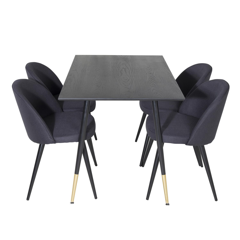 Billede af VENTURE DESIGN Dipp spisebordssæt, m. 4 stole - sort finer/messing sort metal, sort stof/sort metal