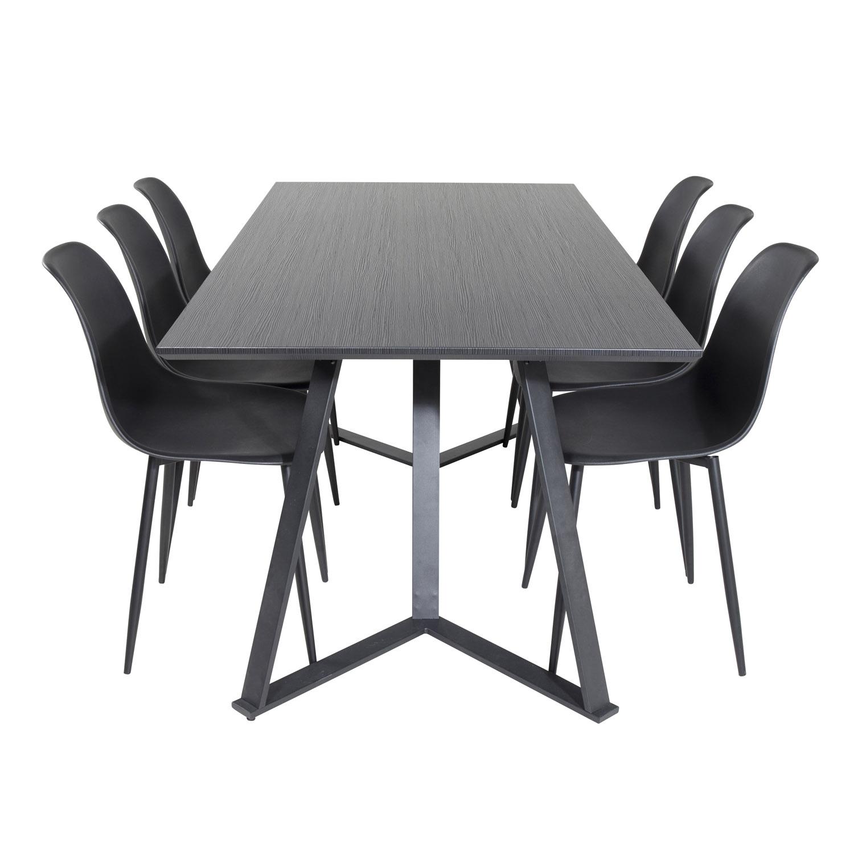 Billede af VENTURE DESIGN Marina spisebordssæt, m. 6 stole - sort finer/sort metal og sort plastik/sort jern
