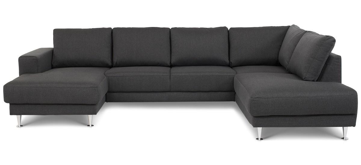 Silje U-sofa, 4 personer - antracit grå stof m. chaiselong, venstrevendt