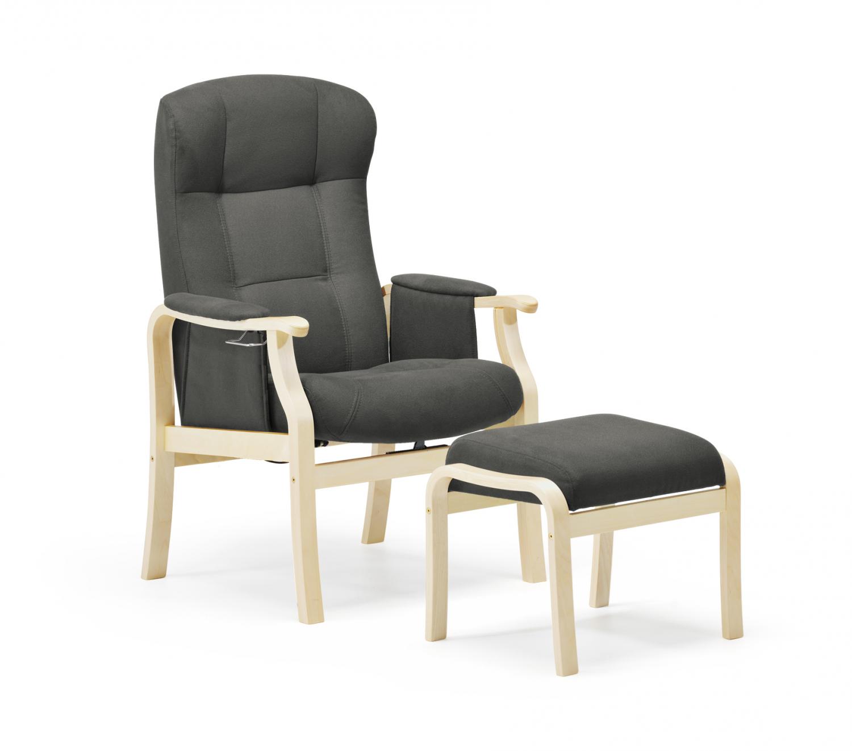Nordic-c sorø plus seniorstol - antracitgrå stof og træ, m. armlæn, eksl. skammel