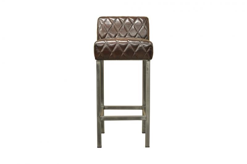 BODAHL Stacey barstol - mørkebrun bøffellæder og jern thumbnail
