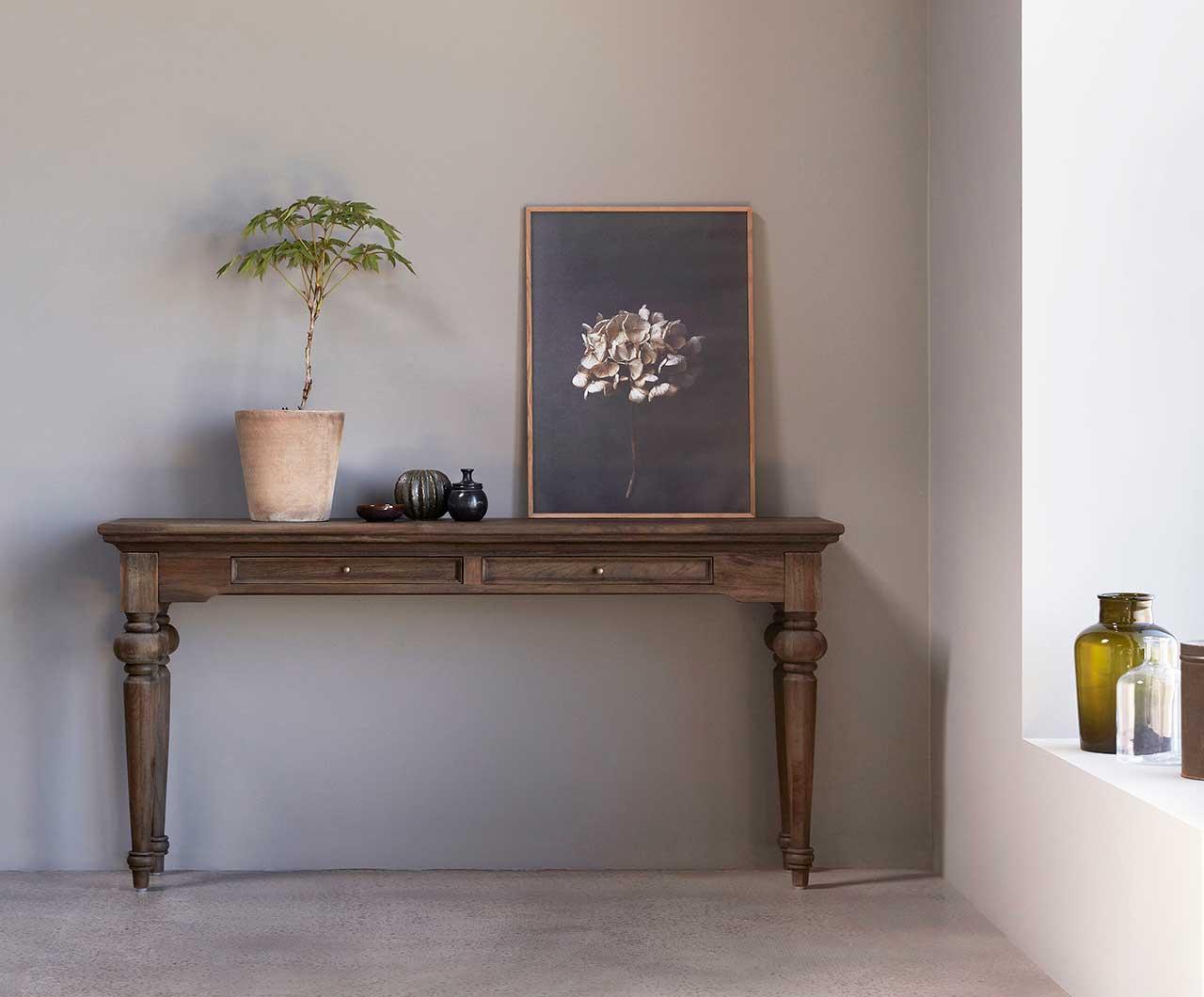 "NOVASOLO ""Hygge"" konsolbord i teaktræ med 2 skuffer (140x40)"