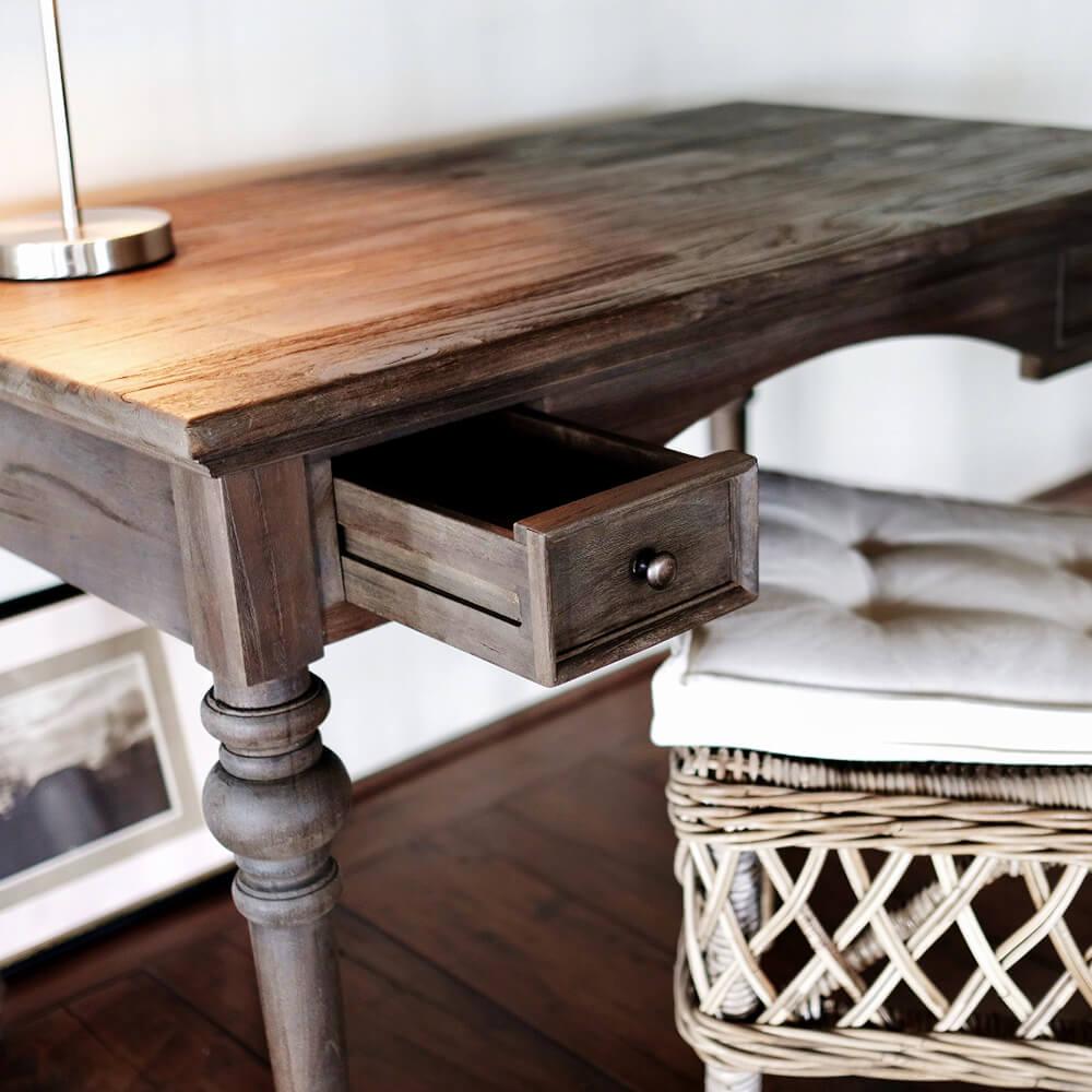 """NOVASOLO """"Hygge"""" skrivebord i teaktræ med skuffer"""