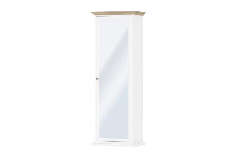 Paris garderobeskab - hvid/eg, m. spejllåge