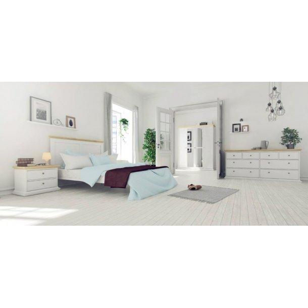 Elegant Paris seng 180x200 i hvid/eg i romantisk design