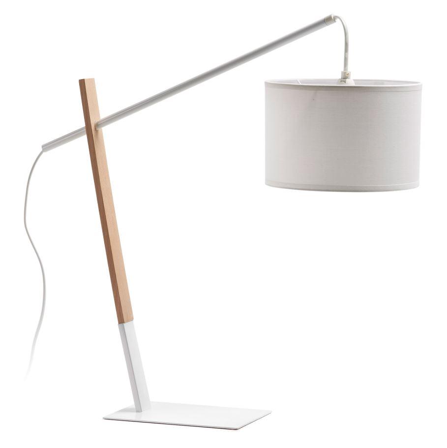 Laforma izar bordlampe - hvid metal/bomuld og natur træ fra laforma fra boboonline.dk