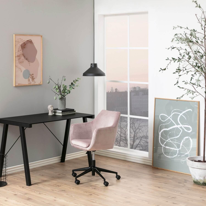 Nora skrivebordsstol rosa stof og sort, m. armlæn og hjul