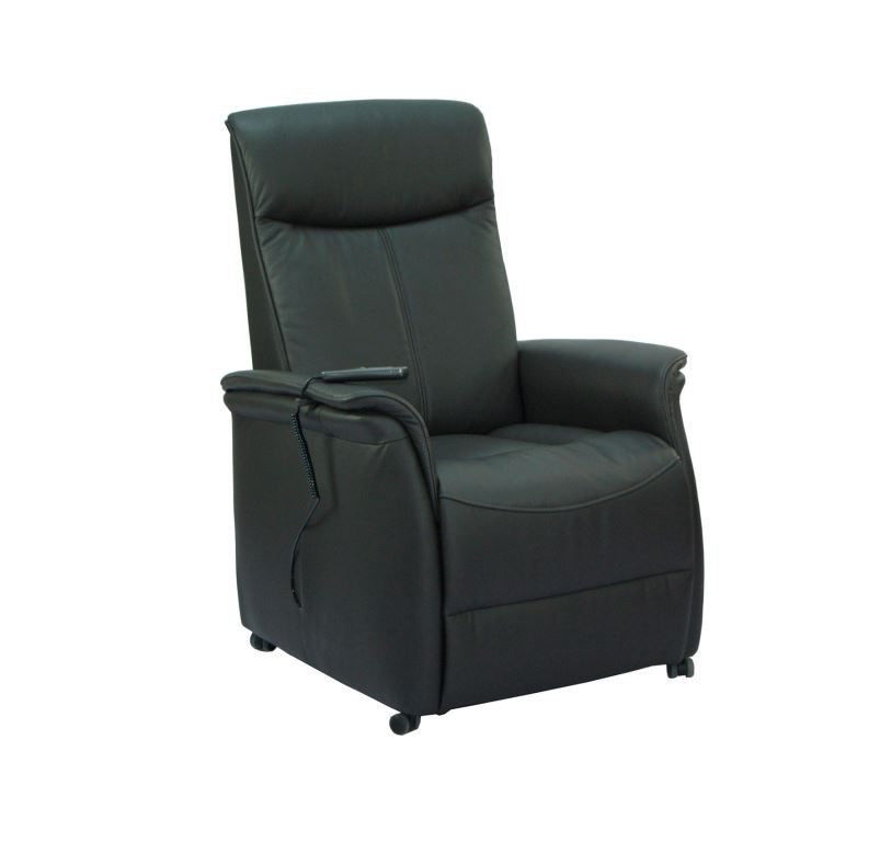 Sylt reclinerstol - sort kunstlæder, m. hjul, elfunktion og løft (1 motor)