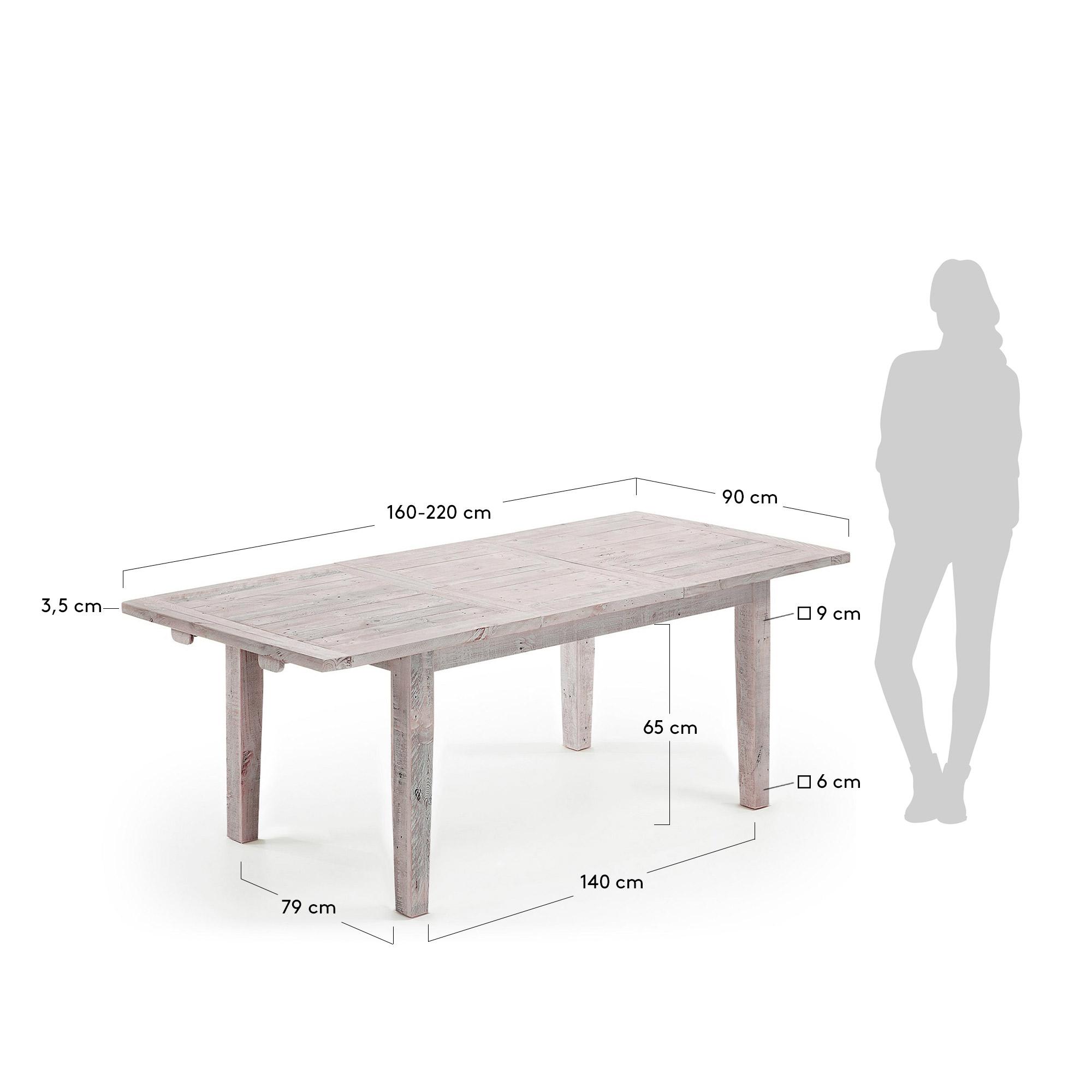 LAFORMA Woody spisebord - hvidvasket fyrretræ, m. udtræk (160/220x90)