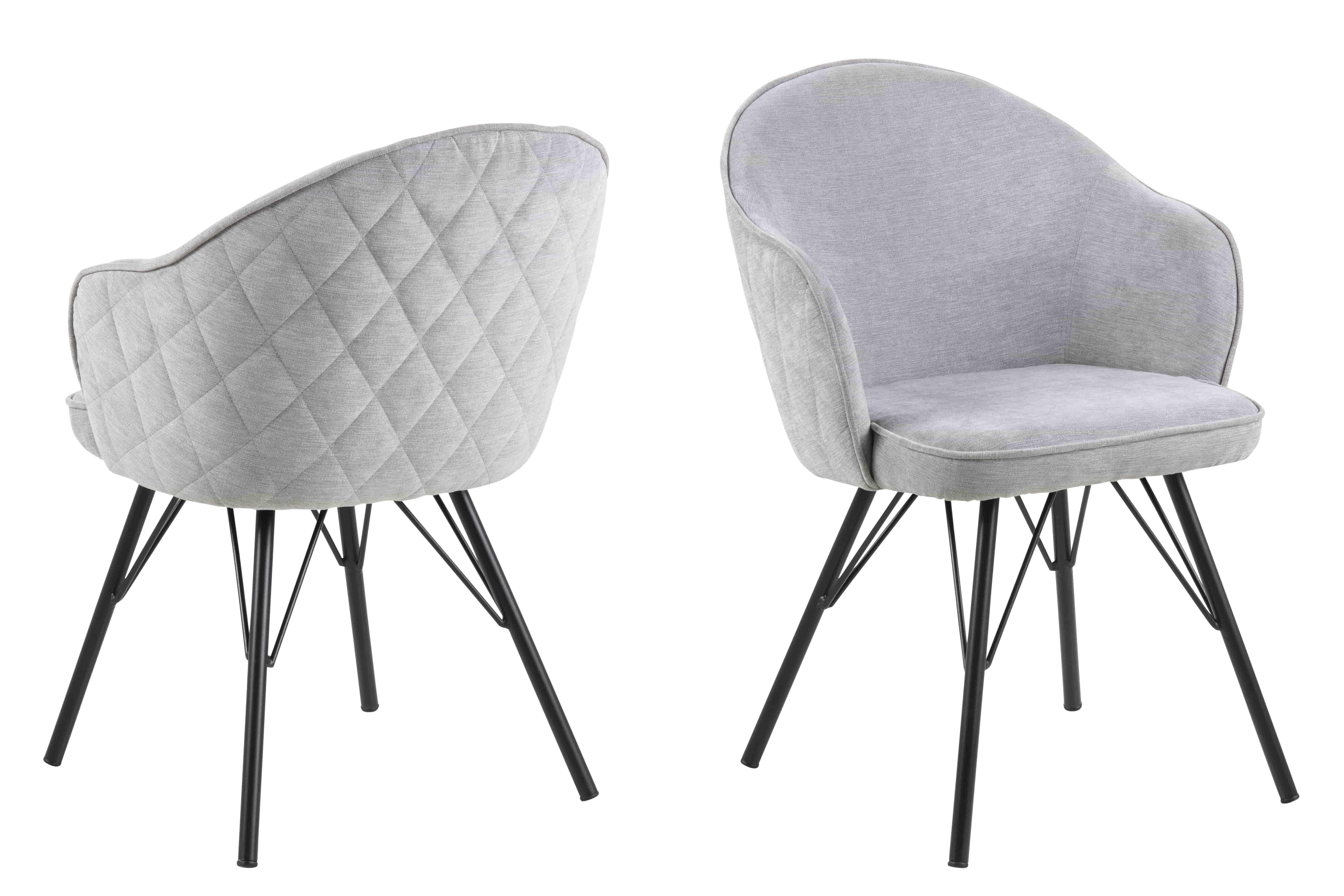 Mitzie spisebordsstol - grå/sort stof/metal, m. armlæn
