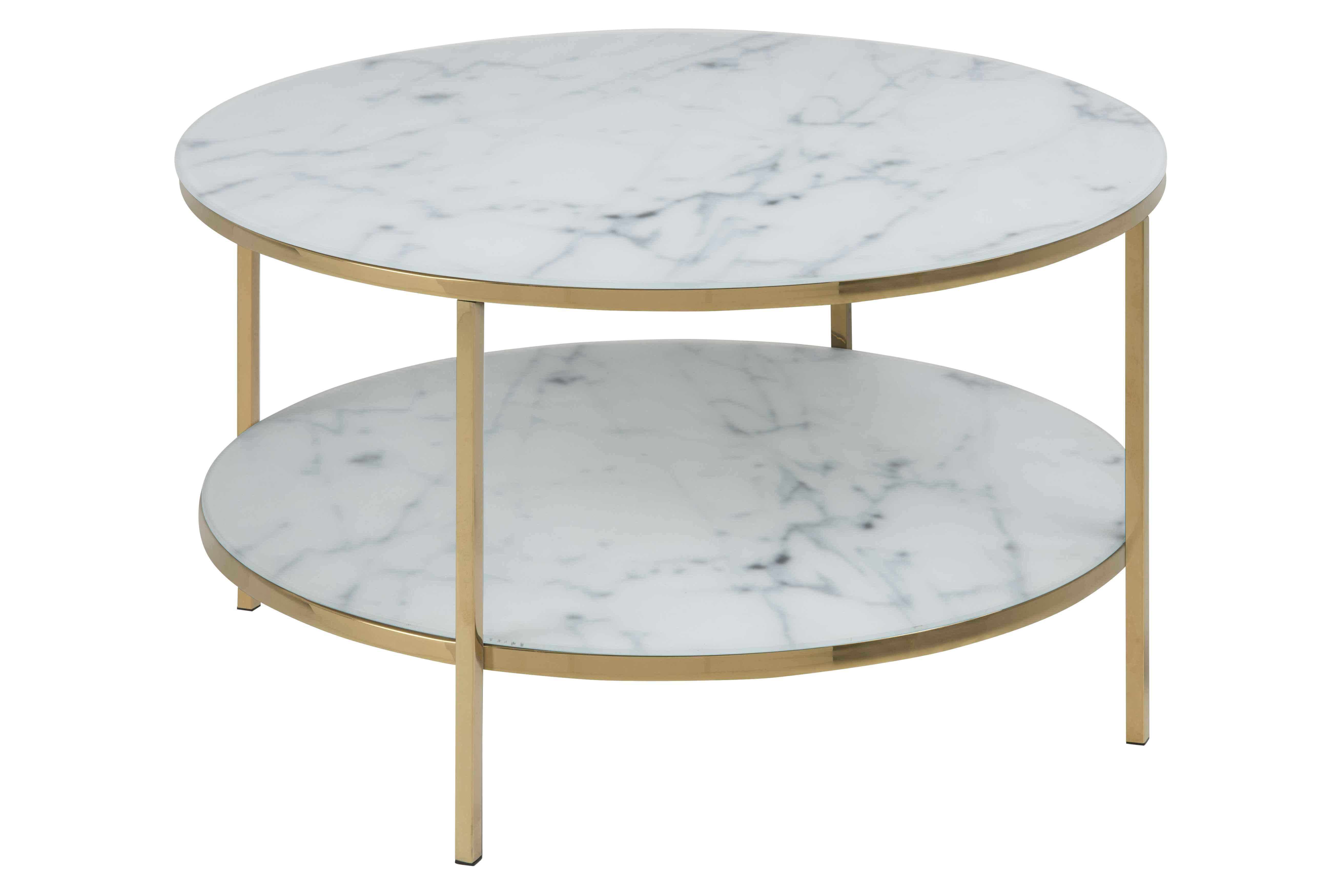 Image of   Alisma sofabord - glas m. hvid marmorprint/guld metal, rund (Ø:80)