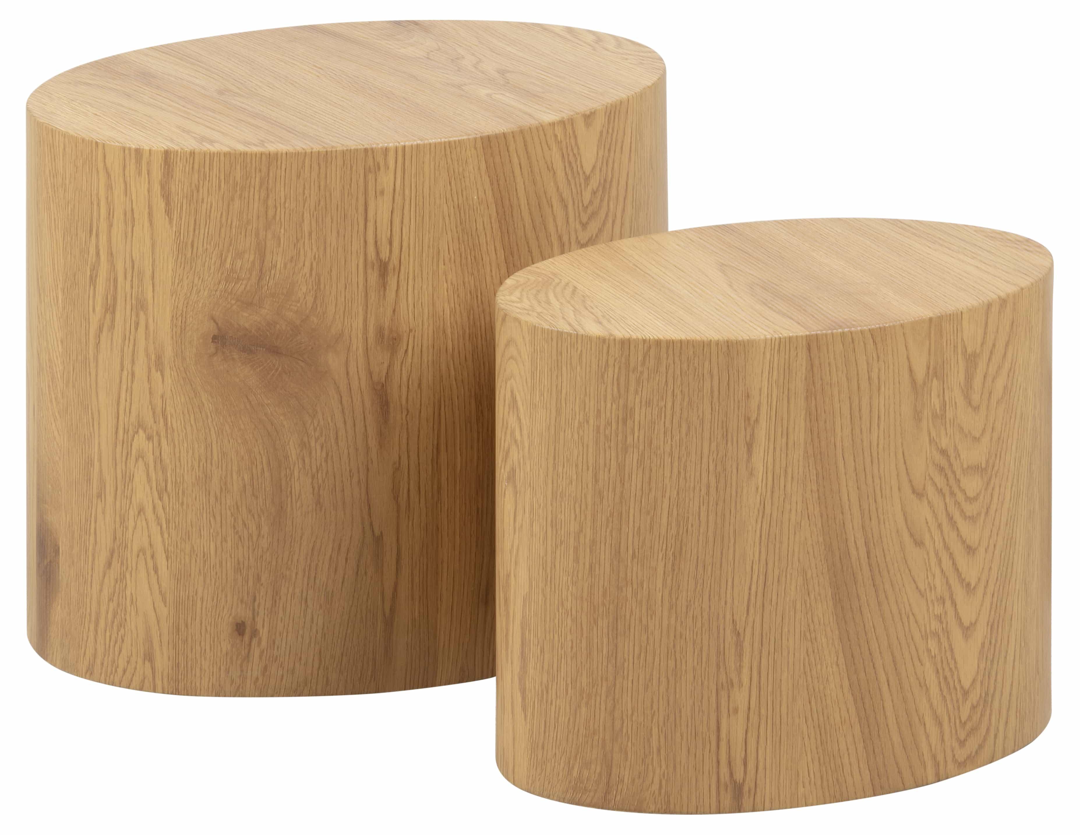 Mice sofabord - natur papir vild eg, oval (sæt á 2)