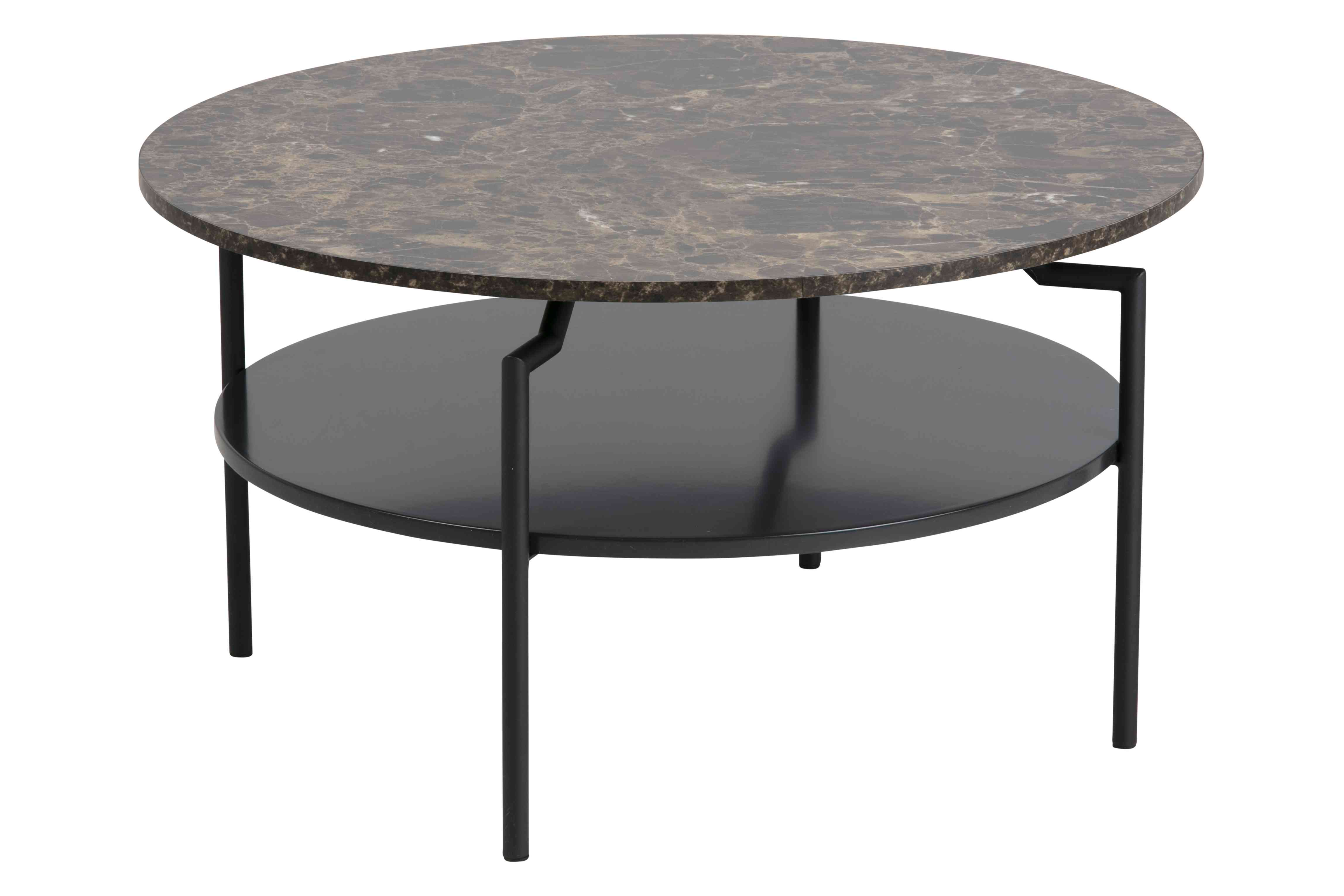 Goldington sofabord - brun/sort marmorpapir/MDF, rund (Ø80)