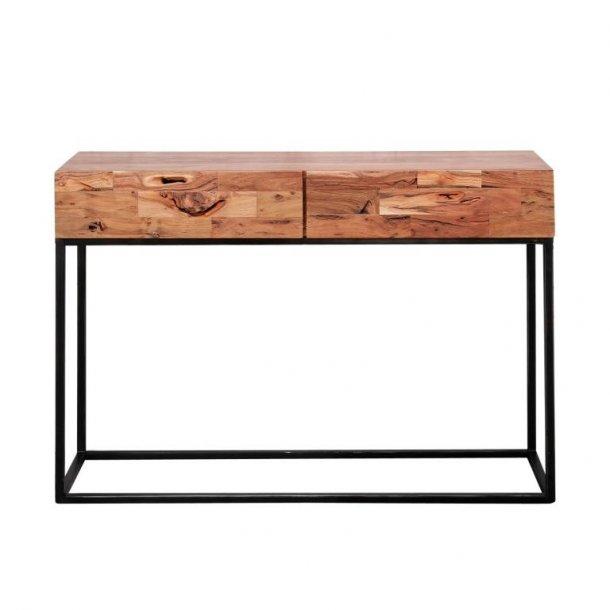 FURBO rektangulær konsolbord, m. 2 skuffer - akacietræ og sort metal (110x35)