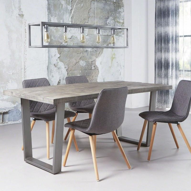 FURBO Spisebord, massiv mangotræ, grå finish