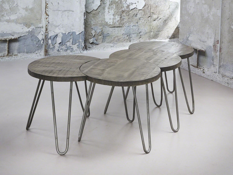 Furbo sofabordssæt - massivt mangotræ m. grå finish (4 dele) fra furbo fra boboonline.dk