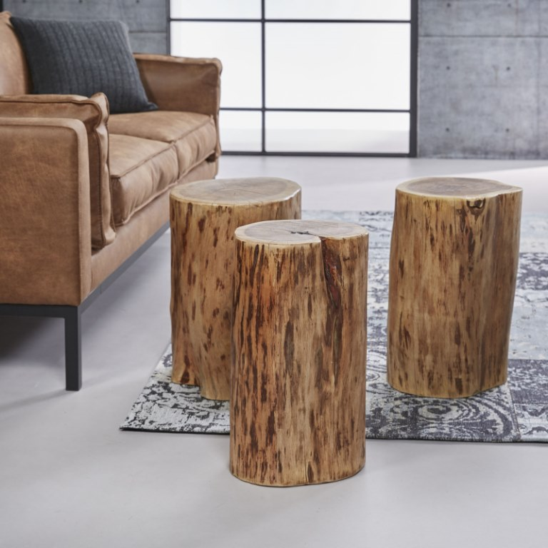 Furbo tre sofaborde - massivt akacietræ (ø35 cm) fra furbo fra boboonline.dk