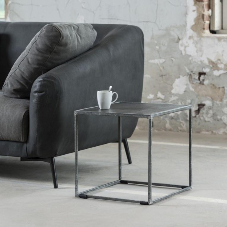furbo Furbo sofabord - sort sandblæst nikkel, kubistisk (40x40) fra boboonline.dk