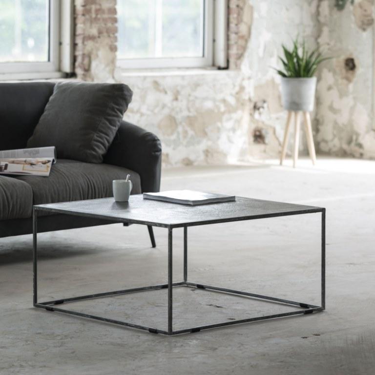FURBO Sofabord, sort nikkel, sandblæst, 80 x 80 cm