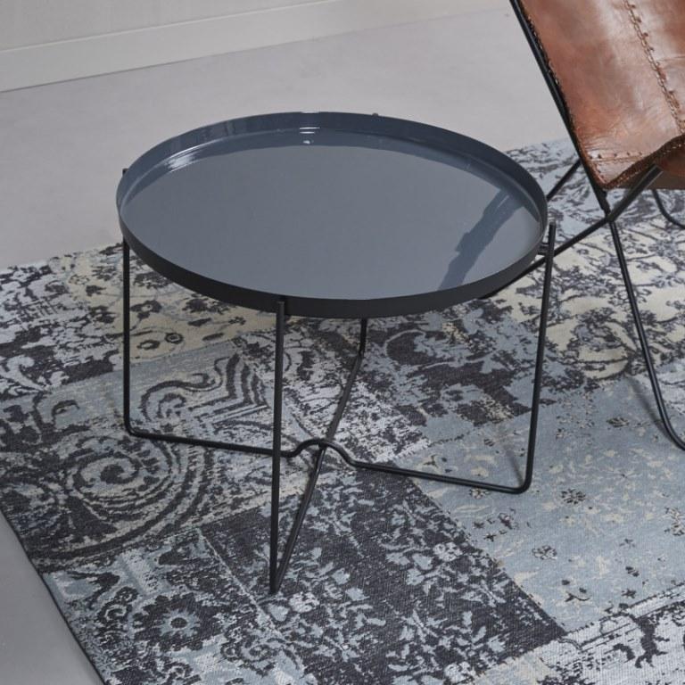 Billede af Furbo Rundt sofabord, grå metal, emaljeret, ø 60 cm
