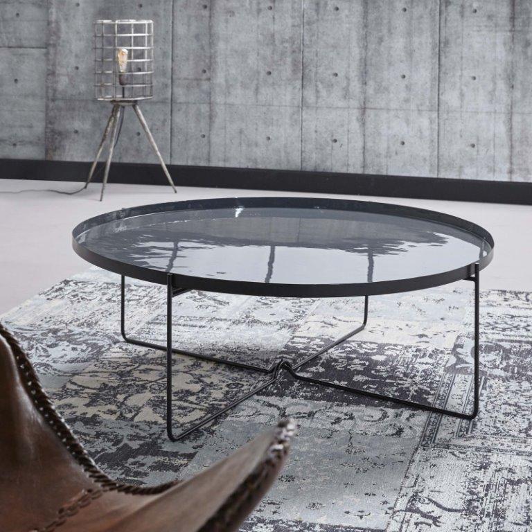 Billede af Furbo Rundt sofabord, grå metal, emaljeret, ø 100 cm