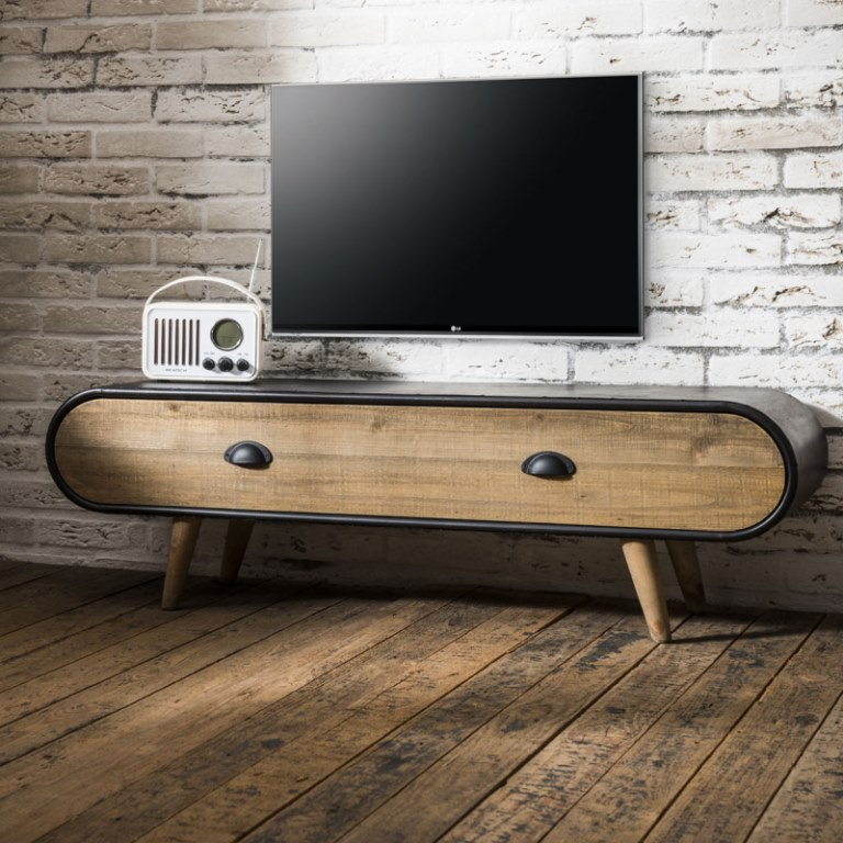 Image of   FURBO TV bord, Rustik, sort lakeret, natur skuffe, 120 x 35 cm