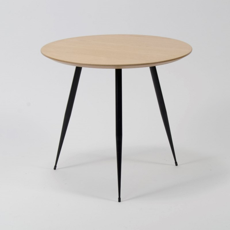 furbo – Furbo sofabord - eg m. sorte metalben (ø 50 cm) fra boboonline.dk