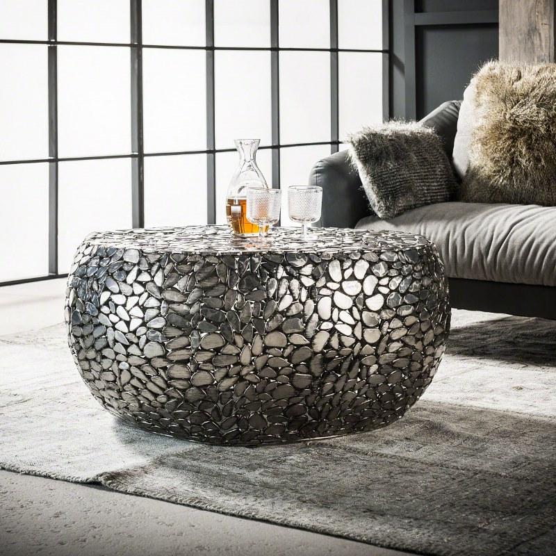 FURBO sofabord - antik nikkel, ovalt (80x85)