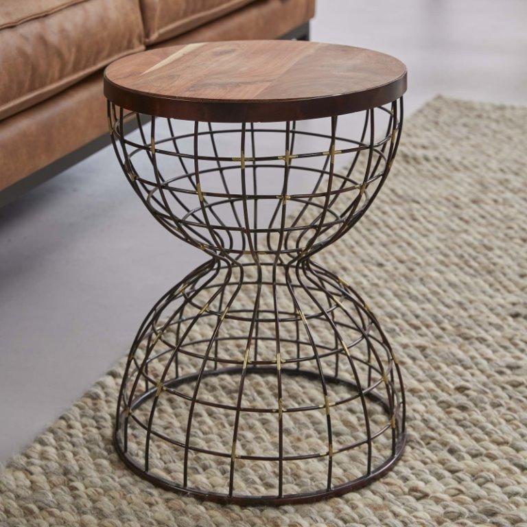 FURBO sofabord - massivt træ og antik kobber, timeglasformet (Ø 36)