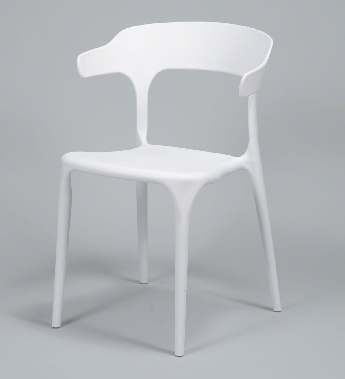 FURBO spisebordsstol - hvid plast, m. armlæn