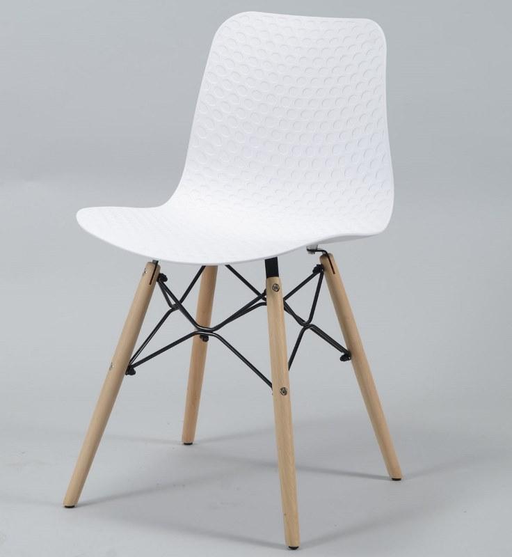 furbo – Furbo spisebordsstol - hvid plast og natur træben på boboonline.dk