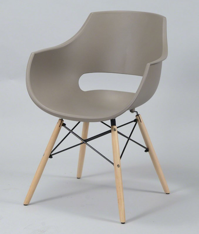 FURBO Spisebordsstol - gråbrun plast og natur træben, m. armlæn