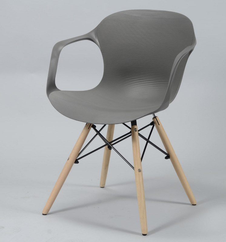 Furbo spisebordsstol, grå plast, natur træben fra furbo fra boboonline.dk